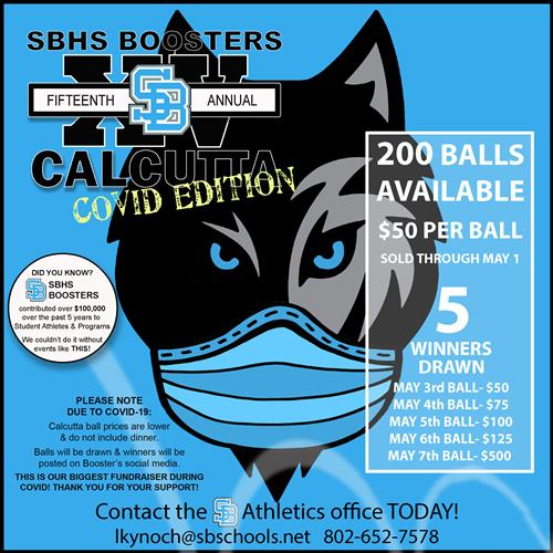 SBHS Boosters calcutta virtual 200 balls available $50 per ball sold through May 1